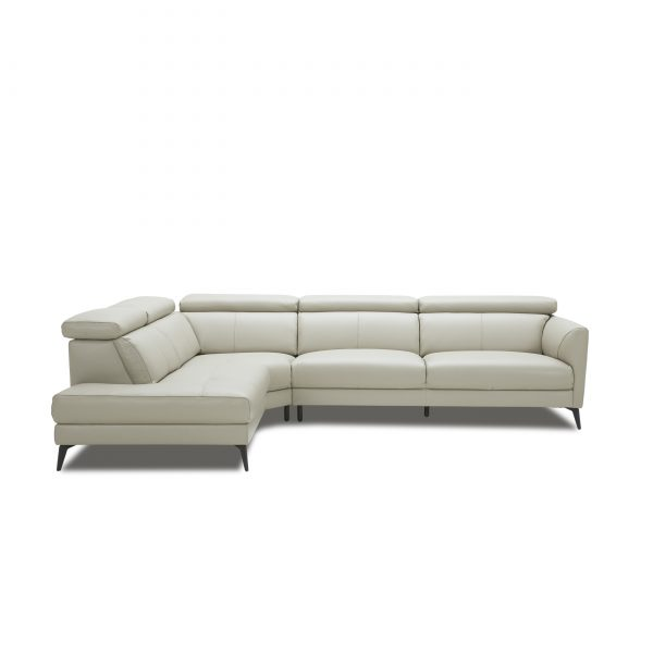 Marki Sectional in Light Grey M Leather, Straight, SL