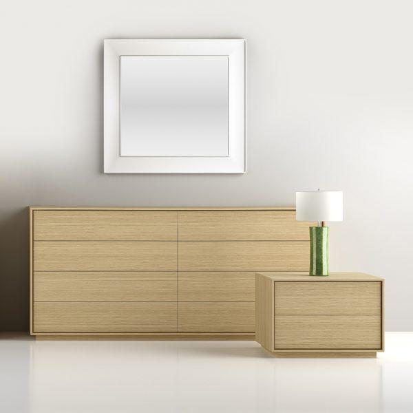 Mobican Azura Nightstand in Oak with Dresser, Full