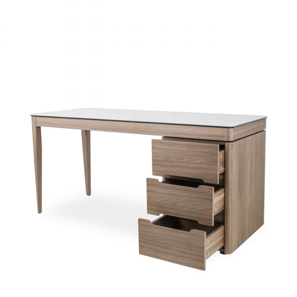 Moody Desk in Walnut, Angle, Drawers Out