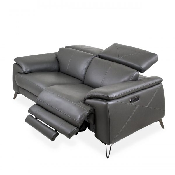 Seymour Loveseat in New Club Charcoal Leather, Angle
