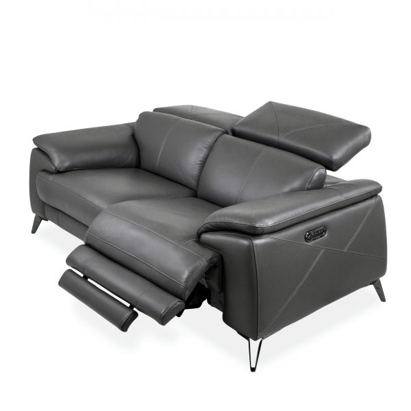 Seymour Loveseat in New Club Slate Leather, Angle