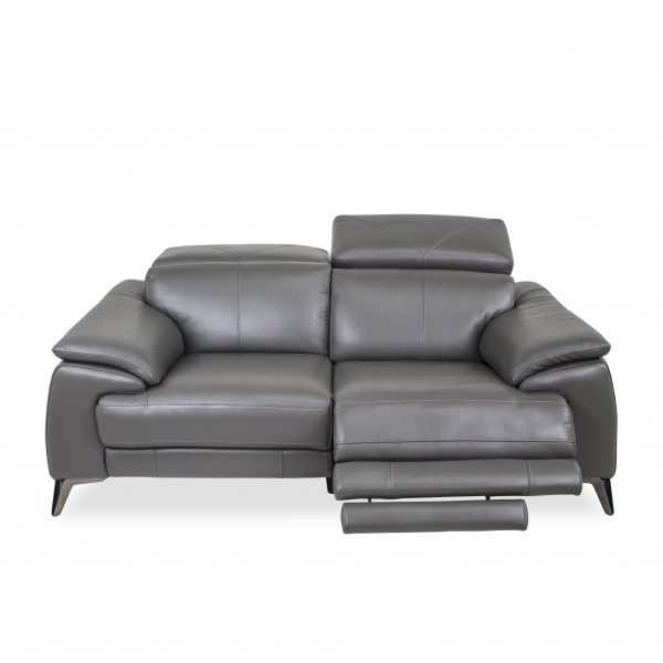 Seymour Loveseat in New Club Charcoal Leather, Front