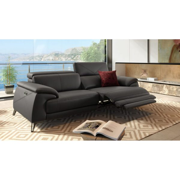 Seymour Sofa in New Club Charcoal Leather in Living Room