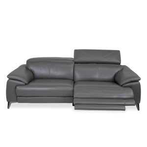 Seymour Sofa in New Club Charcoal Leather, Front