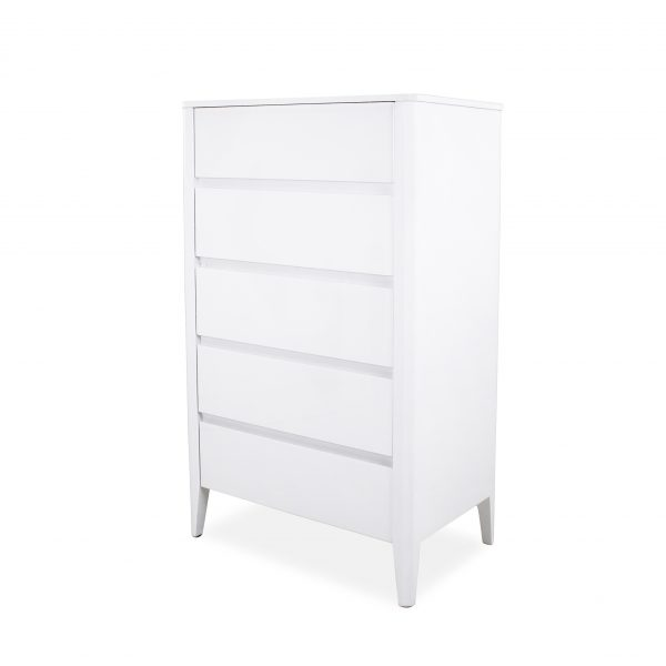 Sonja High Chest in White Lacquer, Angle