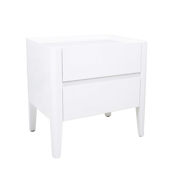 Sonja Night Table in White Lacquer, Angle