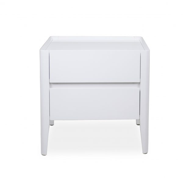 Sonja Night Table in White Lacquer, Front