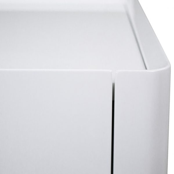 Sonja Night Table in White Lacquer, Close Up