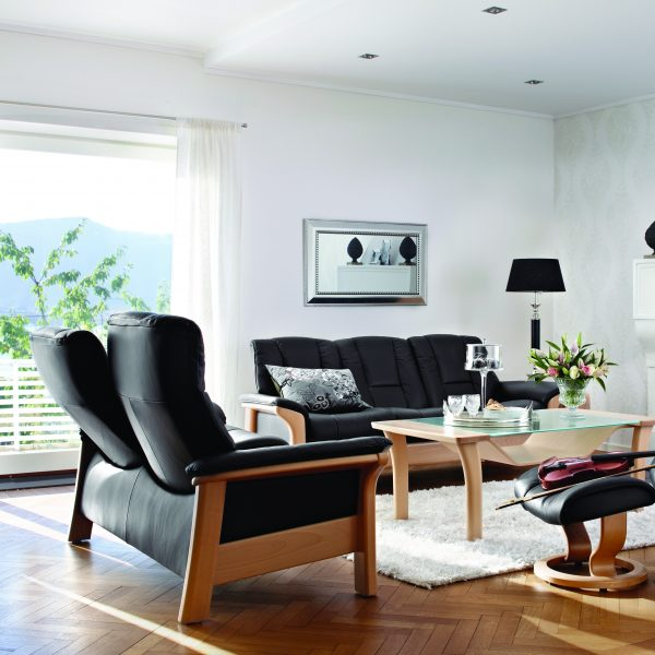 Stressless Windsor High Back Loveseat and Sofa in Living Room