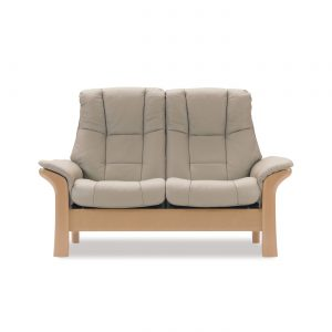 Stressless Windsor High Back Loveseat in Paloma Light Grey and Oak