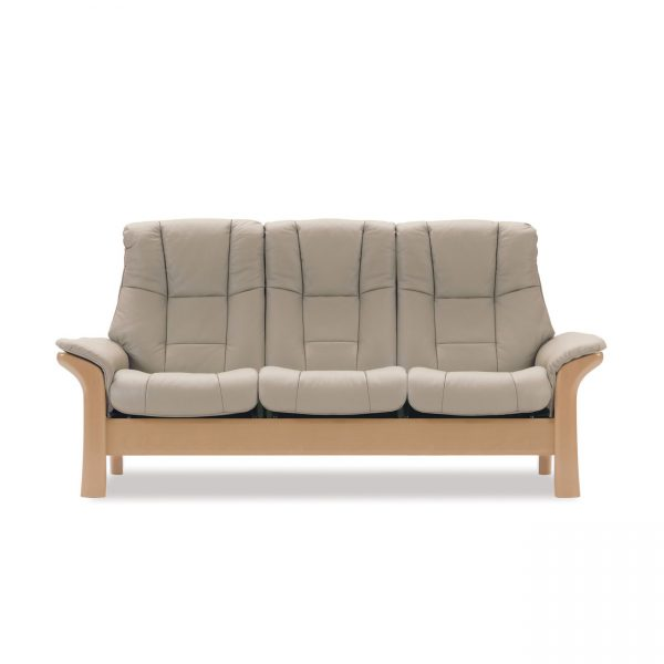 Stressless Windsor High Back Sofa in Paloma Light Grey and Oak