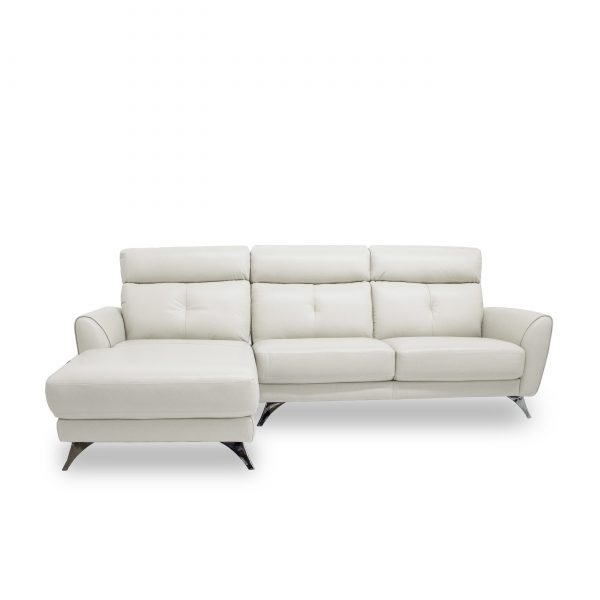 Hans Sectional in Light Grey Leather, Sectional Left