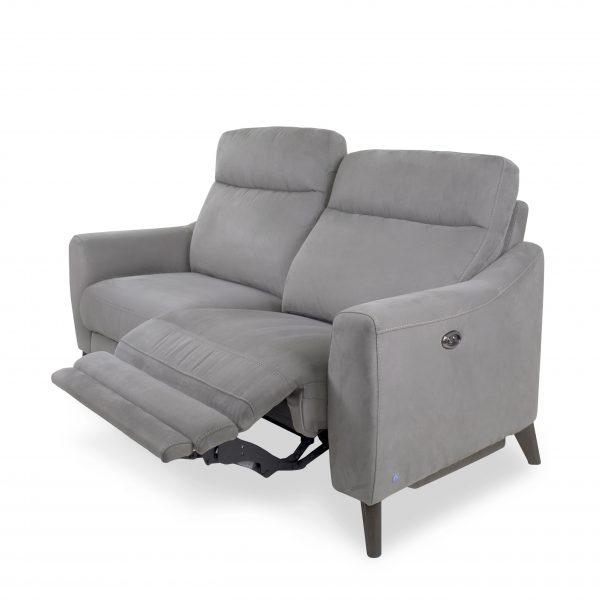 Alma Loveseat in Maldives Silver Grey, Power Recliner, Reclined