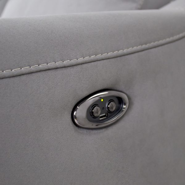 Alma Loveseat in Maldives Silver Grey, Power Recliner Buttons