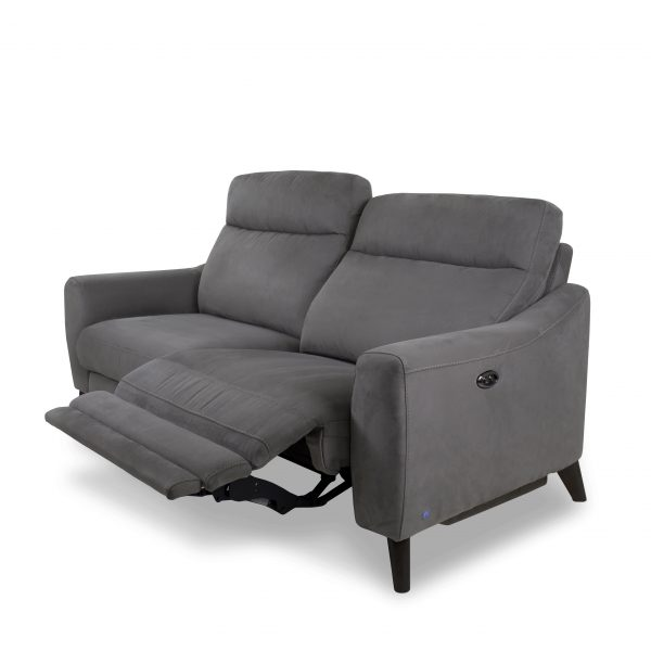 Alma Sofa in Maldives Dark Grey, Power Recliner, Reclined