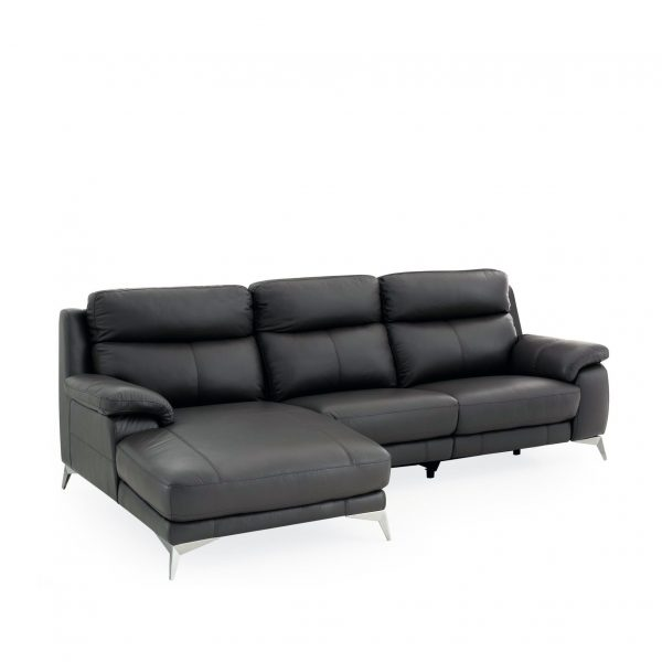Arbutus Sectional in New Club Charcoal Leather, Angle, SL