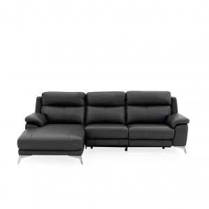 Arbutus Sectional in New Club Charcoal Leather, Front, SL