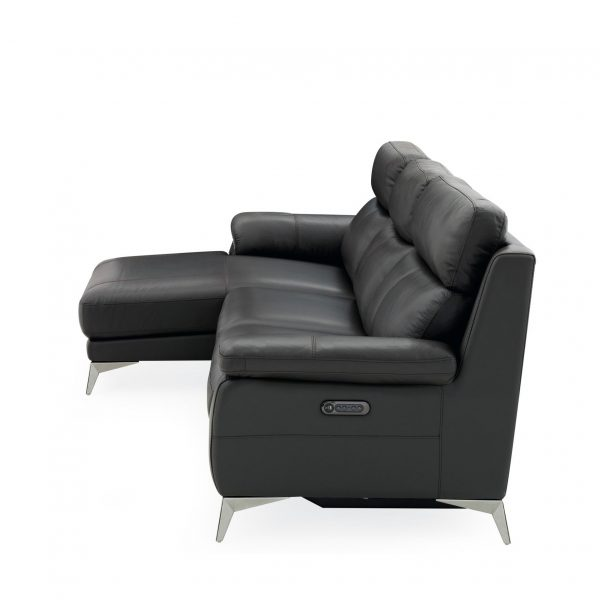 Arbutus Sectional in New Club Charcoal Leather, SL, Side