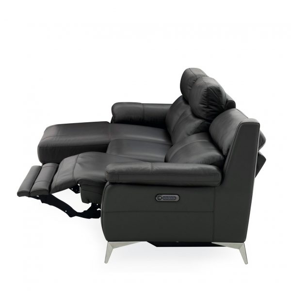 Arbutus Sectional in New Club Charcoal Leather, Recline, SL
