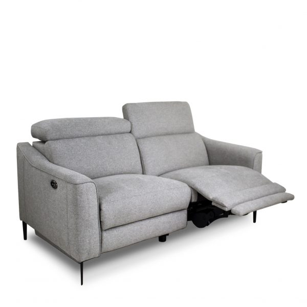Comox Loveseat in Light Grey Fabric with Recliner Out
