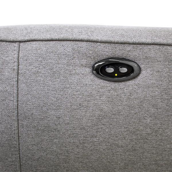 Comox Loveseat in Light Grey Fabric, Recliner Buttons