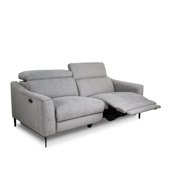 Comox Sofa in Light Grey Fabric with Recliner Out