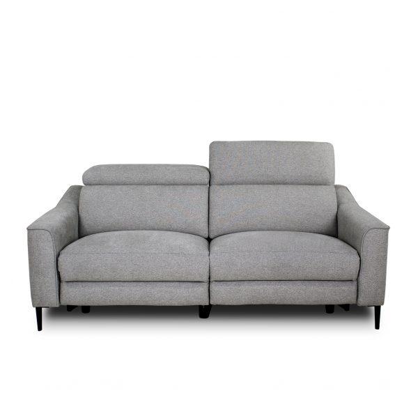 Comox Sofa in Light Grey Fabric with Headrest Up