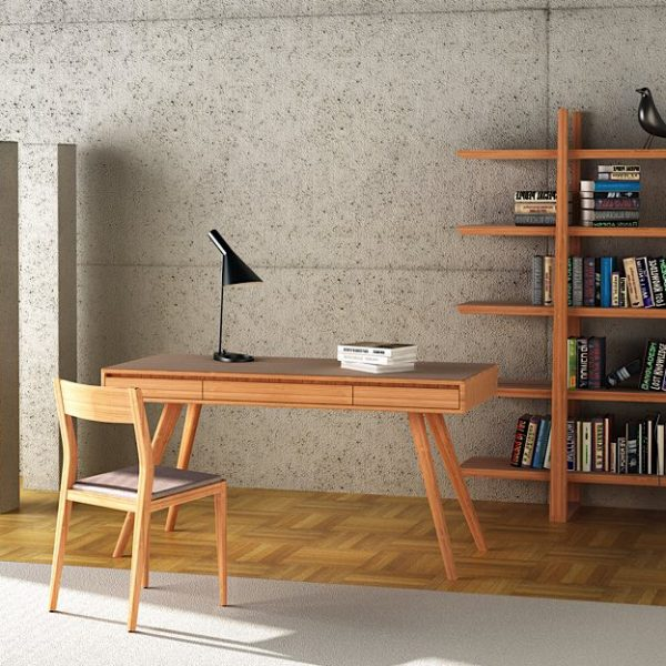 Greenington Currant Desk in Caramel with chair