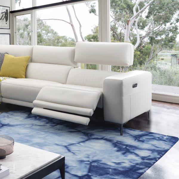 Fredrick Sectional in Frost Leather in Living Room, Reclined