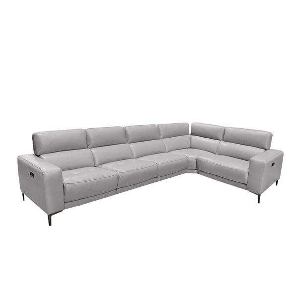 Fredrick Sectional in Silver Grey Leather, 2