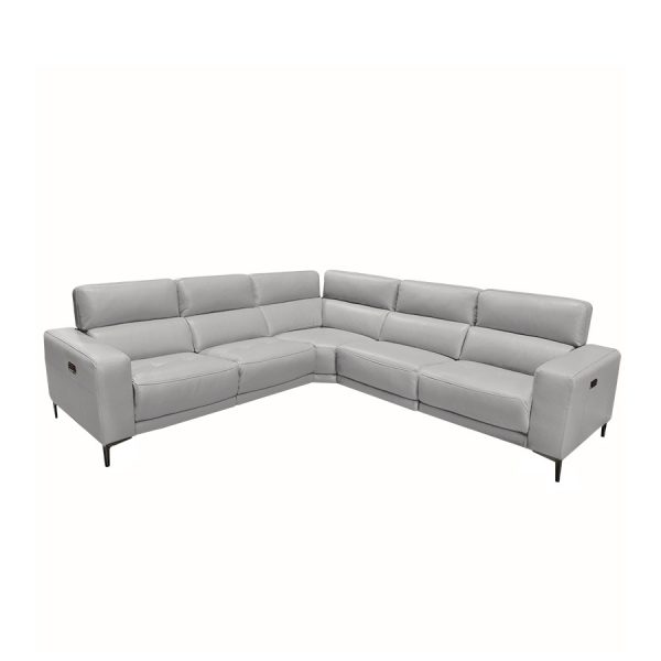 Fredrick Sectional in Silver Grey Leather