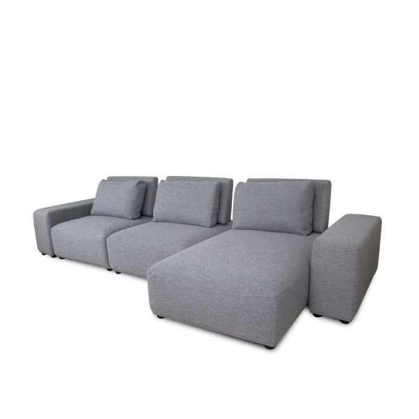 Freestyle Sectional in Grey Fabric, Angle