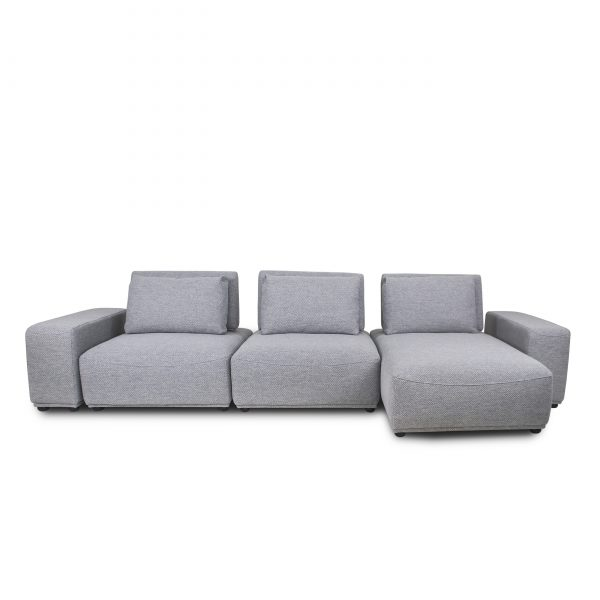 Freestyle Sectional in Grey Fabric, Straight