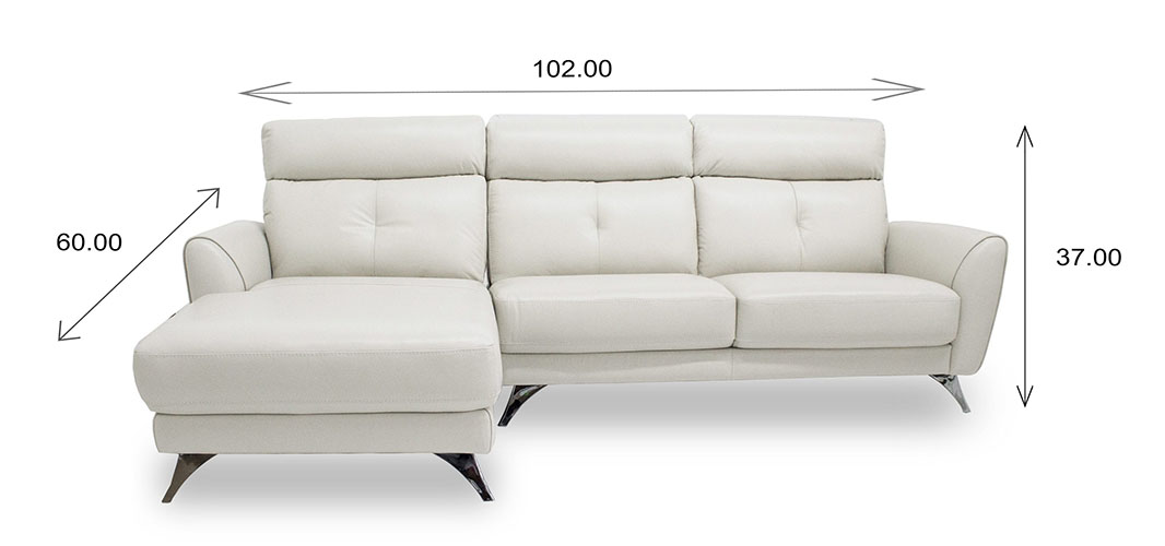 Hans Sectional in Light Grey Leather with Dimensions