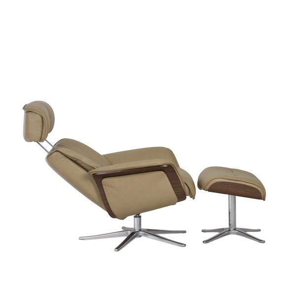 IMG Space 5400 Recliner and Ottoman in Trend Beige, Side Profile