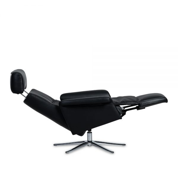 IMG Space SPM3600 Recliner in Trend Tuxedo, Fully Reclined and Headrest Tilted