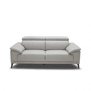 Jensen Loveseat in Light Grey M Leather, Front