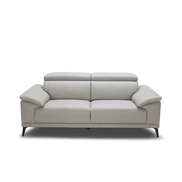 Jensen Loveseat in Light Grey M Leather, Front