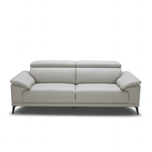 Jensen Sofa in Light Grey M Leather, Front