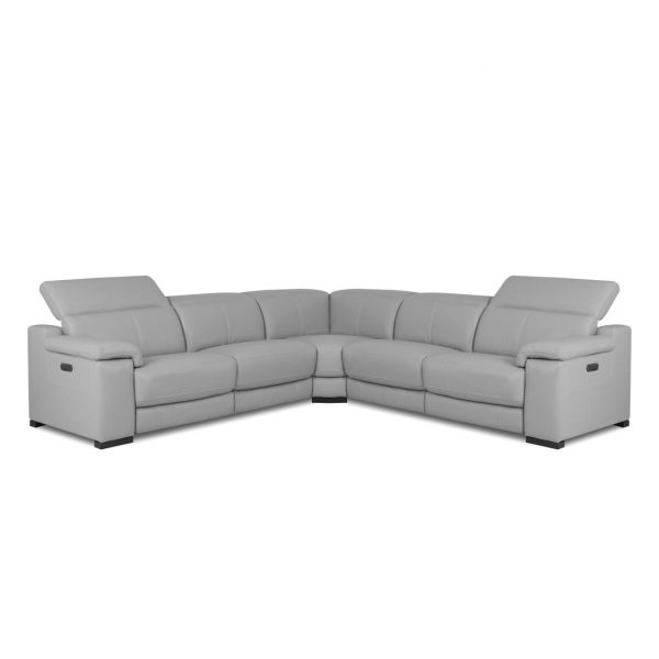 Lucy Sectional in Silver Grey Leather