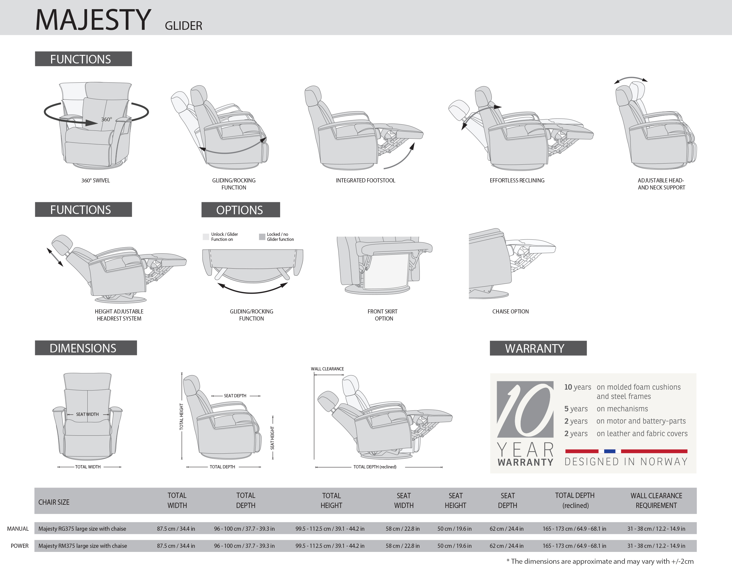 IMG Majesty Recliner Dimensions