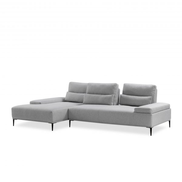 Motion Sectional in Grey Fabric, Angle, SL