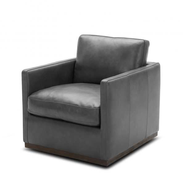 Nicola Chair in Grey Leather, Angle