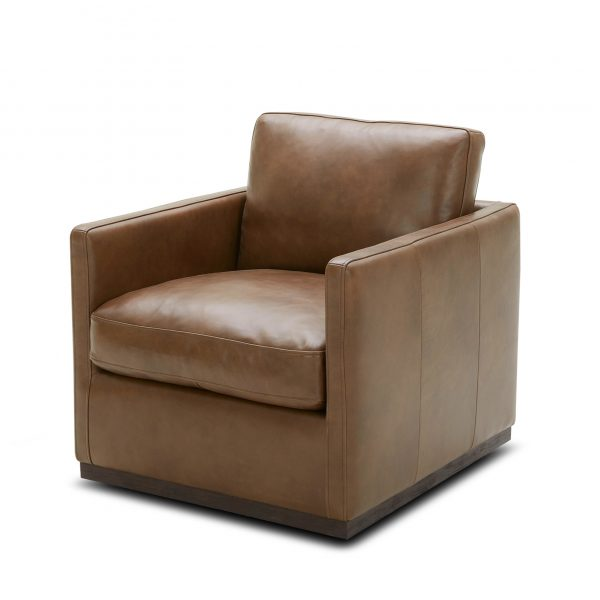 Nicola Chair in Saddle Leather, Angle