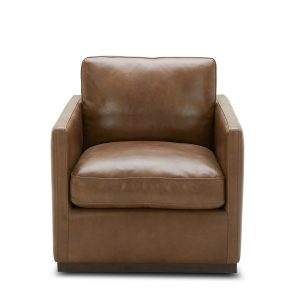 Nicola Chair in Saddle Leather, Front