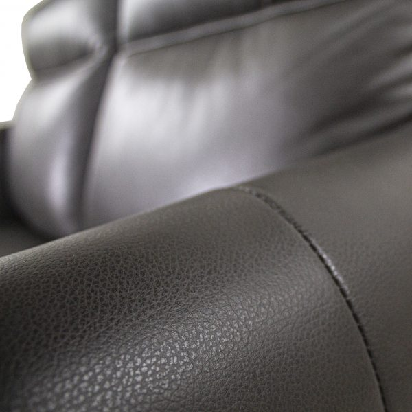 Quinn Sofa/Loveseat in Charcoal Leather, Close Up