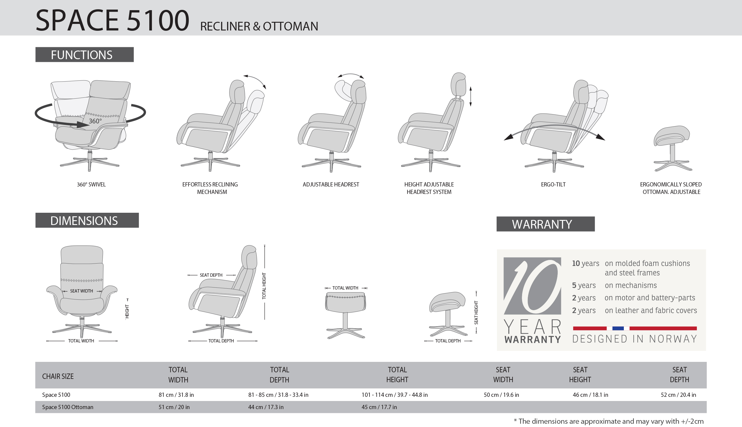 IMG Space 5100S ET Recliner Dimensions