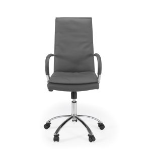 Softy Office Chair in Grey Leather, Front