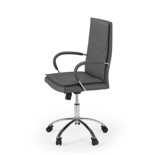 Softy Office Chair in Grey Leather, Side