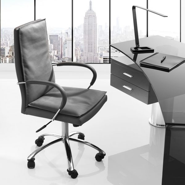 Softy Office Chair in Grey Leather and Desk